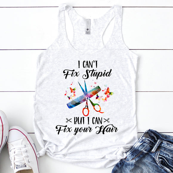 I Can't Fix Stupid Women's Racerback Tank - Flop The World Pop