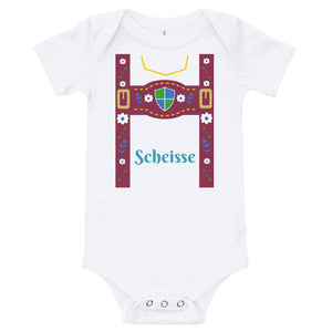 Custom Lederhosen Baby Bodysuit - Flop The World Pop