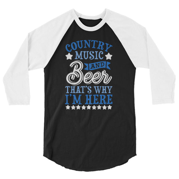 Country Music & Beer 3/4 sleeve raglan shirt