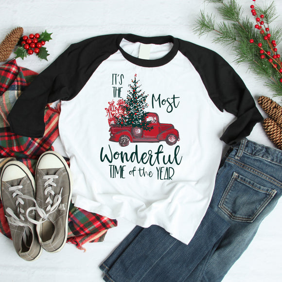 Most Wonderful Time Of The Year 3/4 sleeve raglan shirt - Flop The World Pop