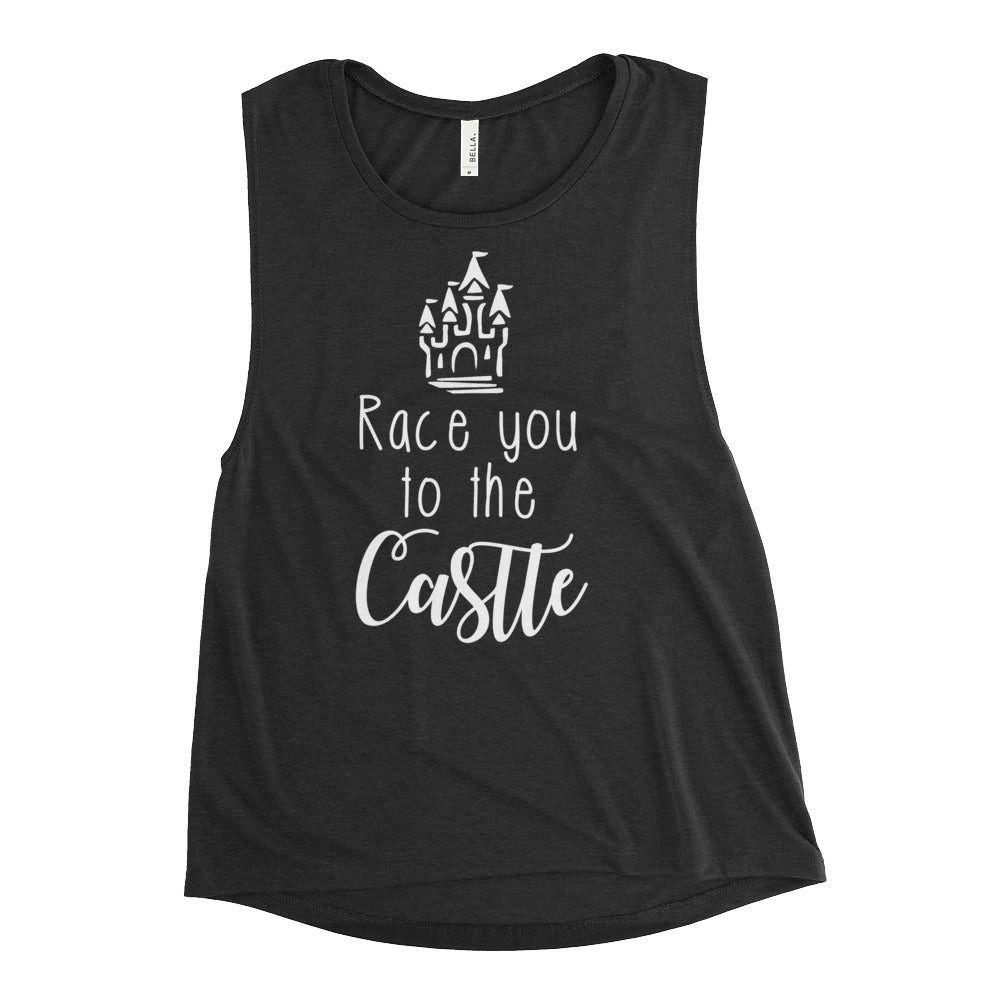 Race You To The Castle Ladies Muscle Tank Flop The World Pop