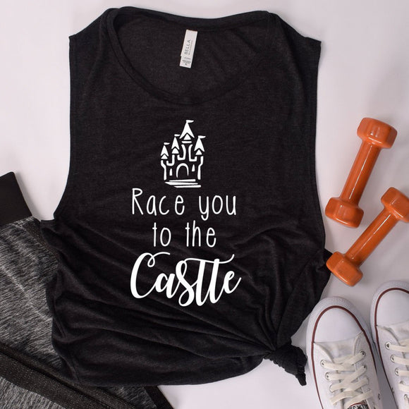 Race You To The Castle Ladies' Muscle Tank