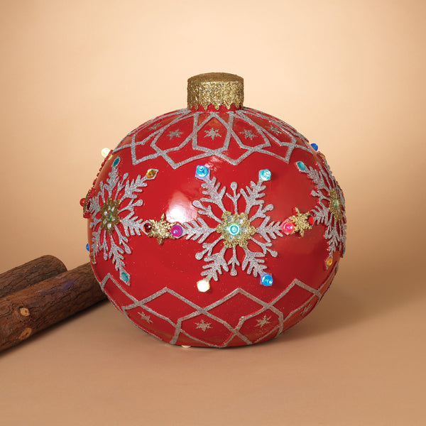 "18"" Electric Lighted Poly-Resin Musical Jumbo Ornament, Red, Outdoor"