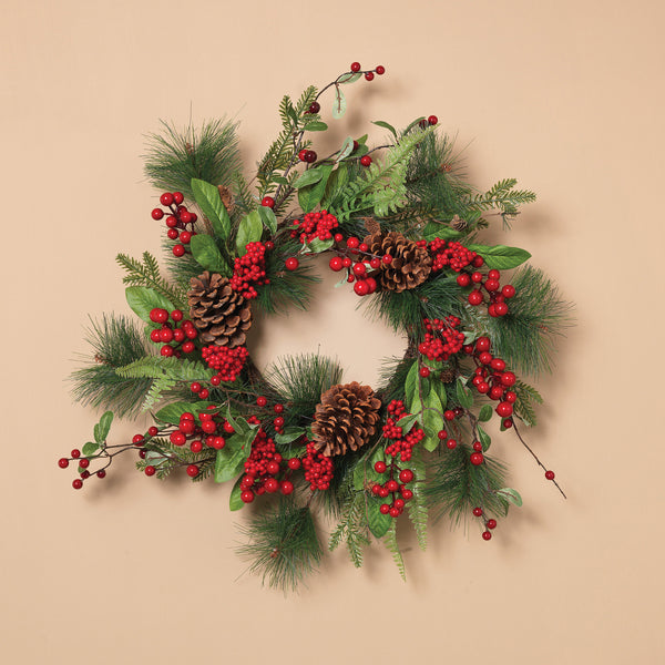 "24"" Holiday Pine with Berries & Pinecone Wreath"