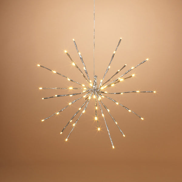 "20"" Electric Shiny Silver Starburst with 72 Warm White LED Lights, Outdoor Adaptor"