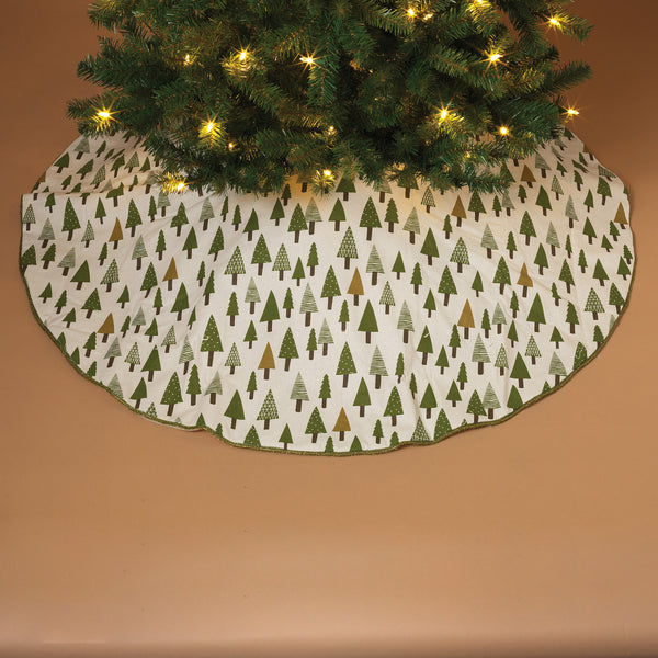 "48"" Cotton Block Print Forest Tree Skirt with Sparkle Green Trim"