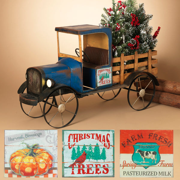 "41"" Solar Lighted Metal and Wood Antique Truck with 3 Season Magnets"