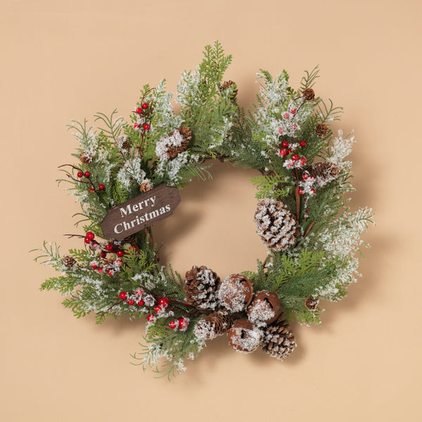 "24"" Holiday Frosted Pine Wreath with Metal Bell and Berry"