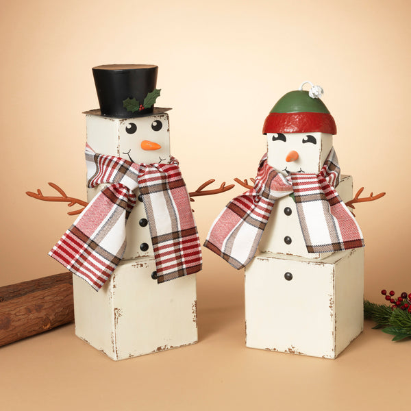"23.5"" Wood Snowman Figurine with Scarf"