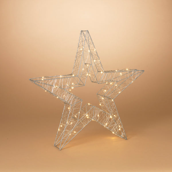 "21"" Battery Operated Outdoor Silver Wire Open Star with 60 Warm White Micro LED Lights and Timer"