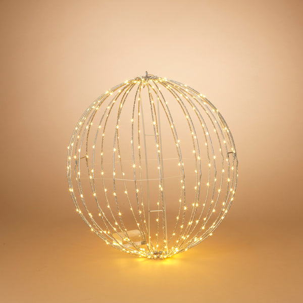 "24"" Electric Foldable Metal Sphere with 220 Warm White Micro LED Lights and Outdoor Adaptor"