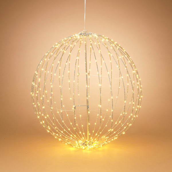 "32"" Electric Foldable Metal Sphere with 450 Warm White Micro LED Lights and Outdoor Adaptor"