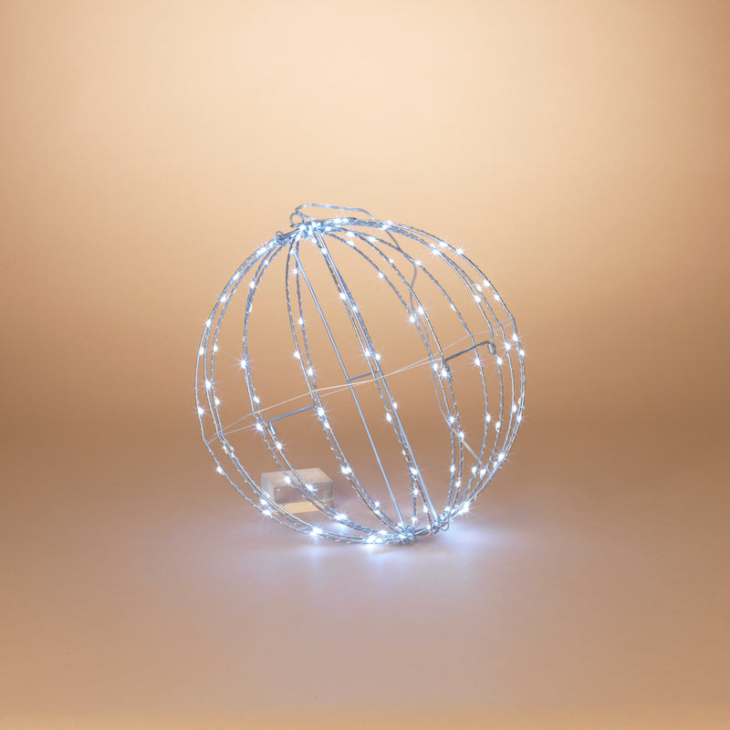 "16"" Electric Foldable Metal Sphere with 150 Cool White Micro LED Lights and Outdoor Adaptor"