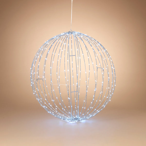 "32"" Electric Foldable Metal Sphere with 450 Cool White Micro LED Lights and Outdoor Adaptor"
