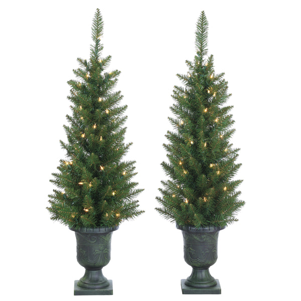 "3.5' Potted Norway Pine Trees, 50 Clear Lights, 128 Tips, 16"" Base Width"