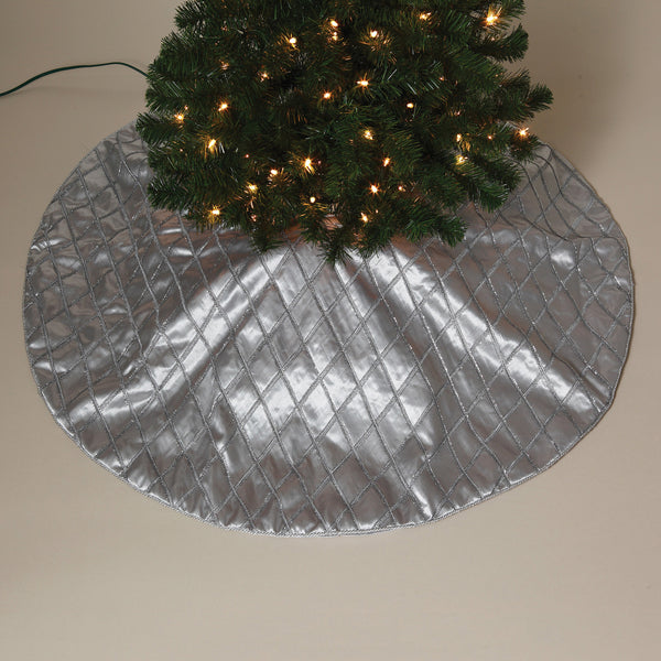 "48"" Faux Silk with Sparkling Criss Cross Trim Tree Skirt"