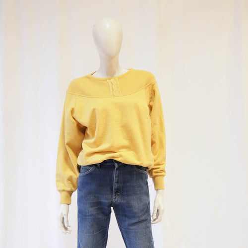 Yellow ochre 80s Raglan Sleeve Sweatshirt with Cable Detail
