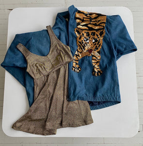 Sequin tiger denim jacket
