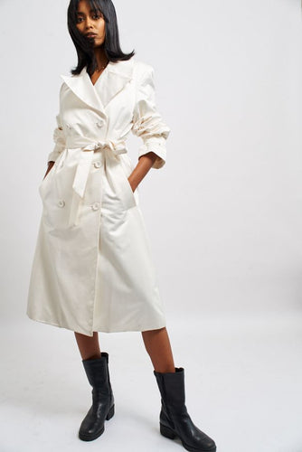 Cream satin trench coat
