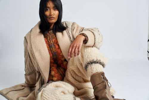 Norma Canada knits long wool and suede coat