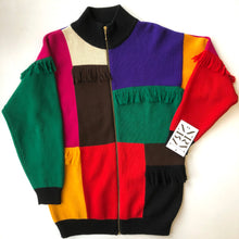 Load image into Gallery viewer, 1980s Wool Colour Block Zip Up Sweater