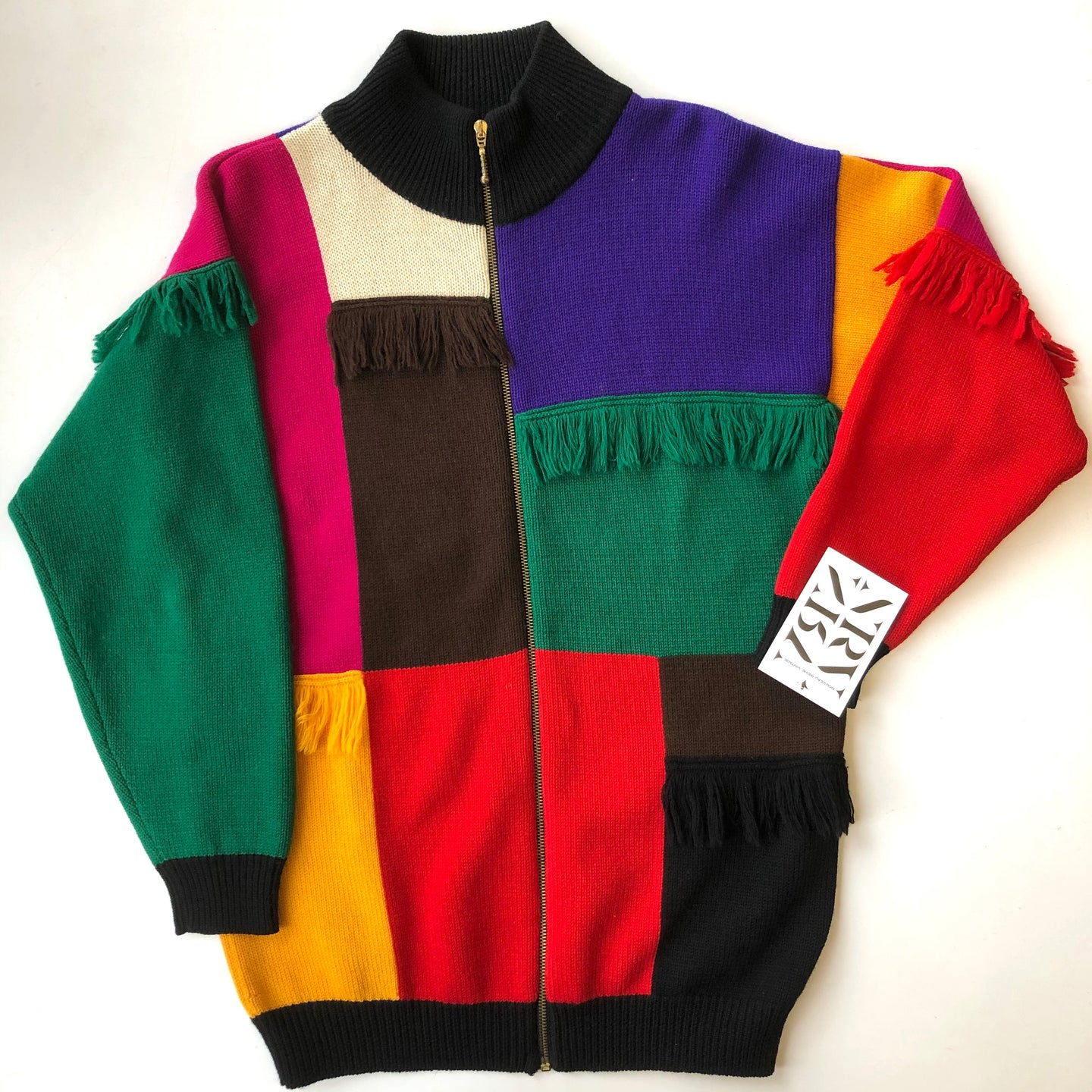 1980s Wool Colour Block Zip Up Sweater