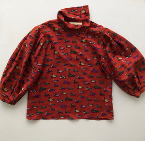 Perry Ellis duck print tunic blouse
