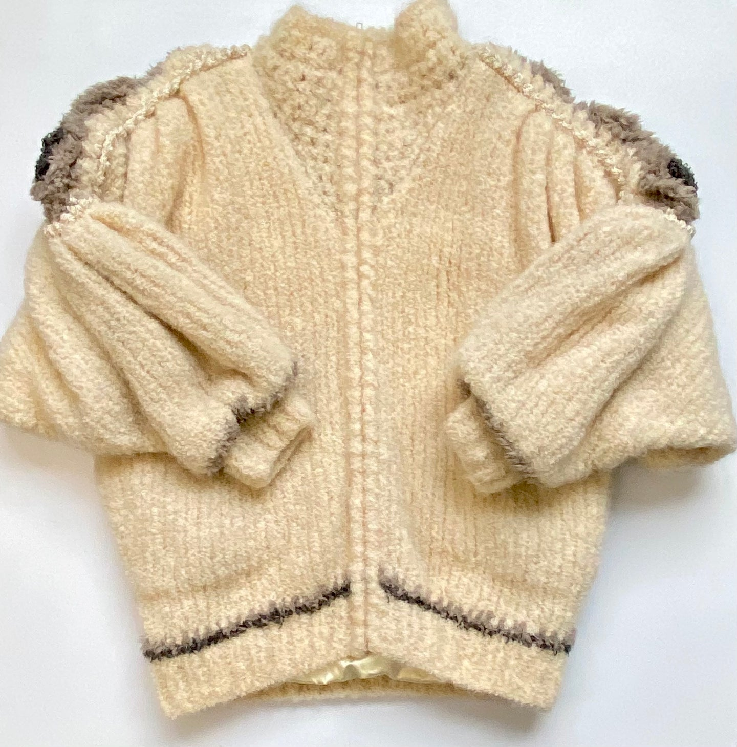 NORMA knit sweater jacket/ zip up lined cardigan