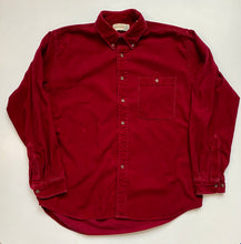 Load image into Gallery viewer, fine wale burgundy cord button down