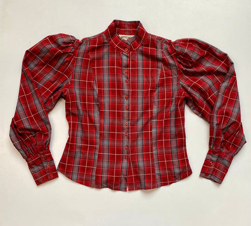 Plaid Mutton sleeve blouse