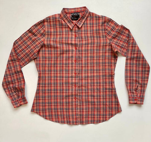 70s plaid collared fitted  shirt