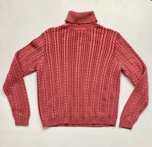 Cable knit turtleneck dusty pink