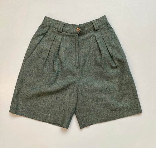 Silk tweed high-waisted shorts.