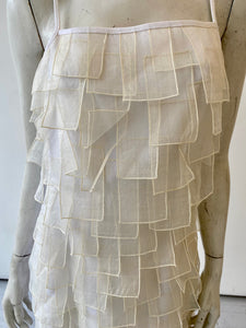 Cream shift dress with organza patch overlay