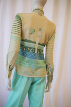 Load image into Gallery viewer, 70s seaside lady novelty print poly sheer blouse