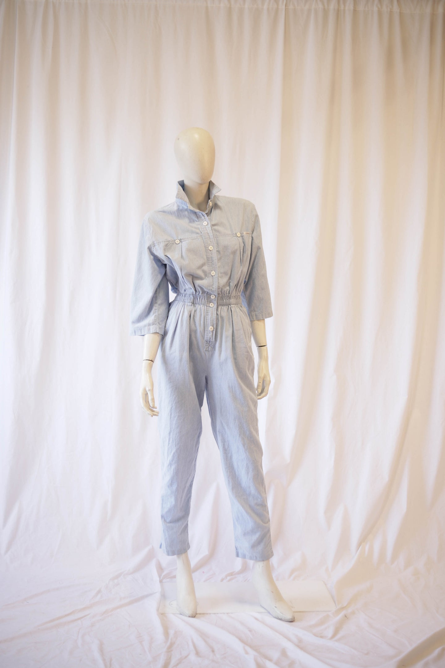 Light Blue Chambray 80s Jumpsuit by ideas