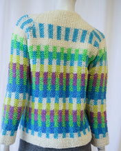 Load image into Gallery viewer, 60s Handmade Loop Knit Multi Color Cardigan