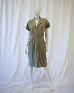 Olive Cotton khaki safari shirt dress w belt