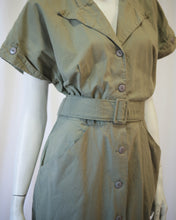 Load image into Gallery viewer, Olive Cotton khaki safari shirt dress w belt