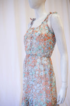 Load image into Gallery viewer, 70s sheer orange floral dress with adjustable straps