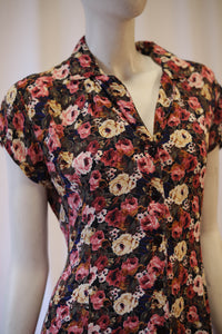 90s crepe rayon floral dress