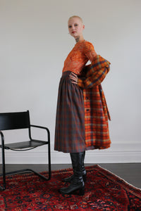 Saks Fifth Avenue plaid wool midi skirt