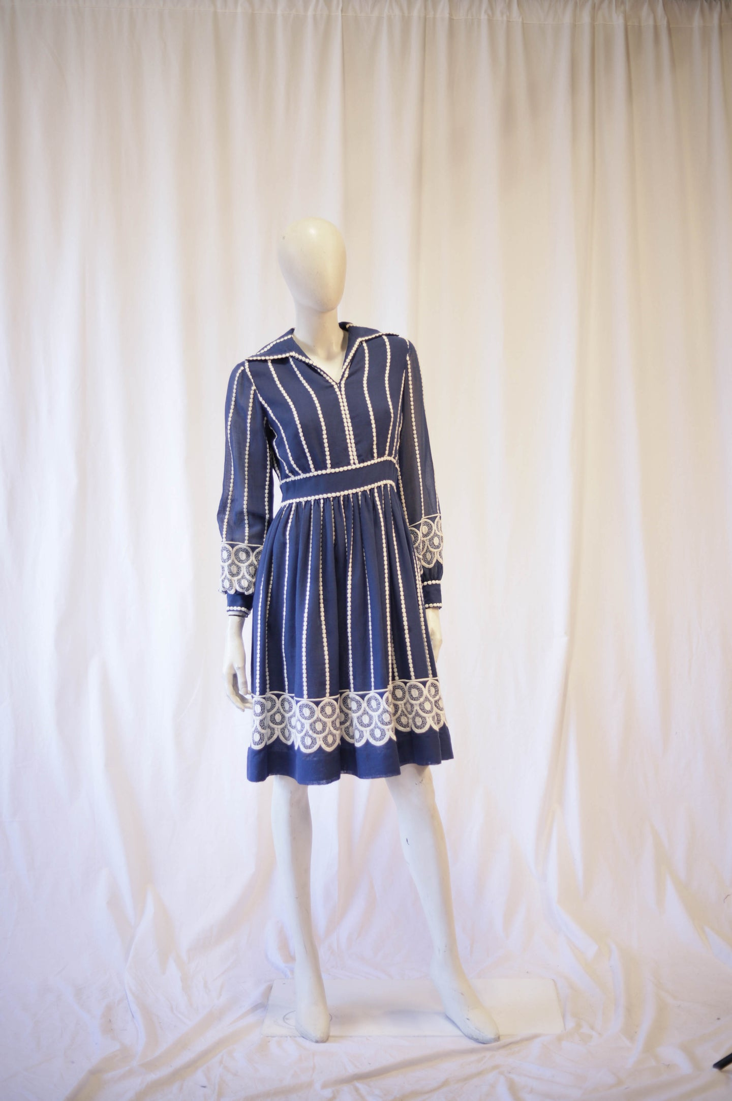 Blue gauze 60s embroidered dress