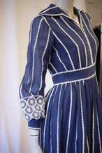 Load image into Gallery viewer, Blue gauze 60s embroidered dress