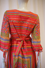 Load image into Gallery viewer, 70s red cotton scarf print empire waist