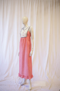 70s gingham  maxi with ric rac and heart buttons