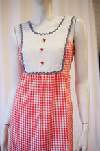 Load image into Gallery viewer, 70s gingham  maxi with ric rac and heart buttons