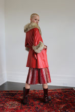 Load image into Gallery viewer, Red leather coat w fur trim