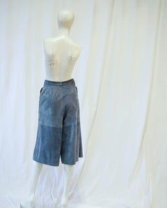 long super soft slate grey suede culottes