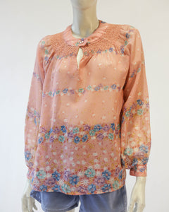 70s sheer floral wild  rose  blouse with smocking